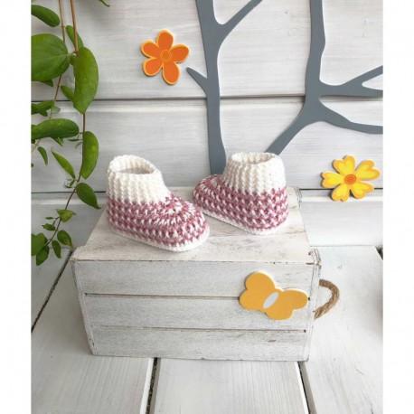 Patuco calcetín para bebés de ganchillo 0-3 meses 9cm